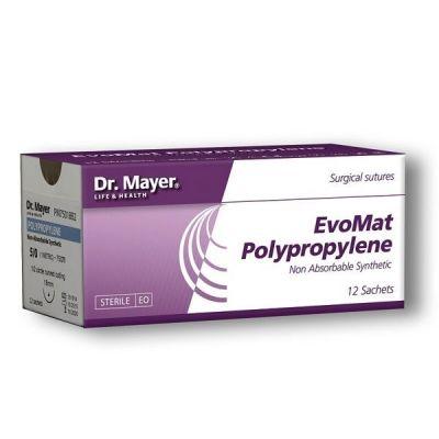 EvoMat, 12 fire sutura polipropilena 4/0, cu ac 18 mm ½