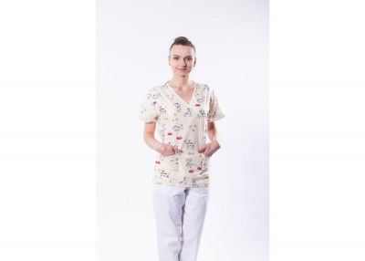 Bluza medicala din bumbac, cu imprimeu 101 dalmatieni