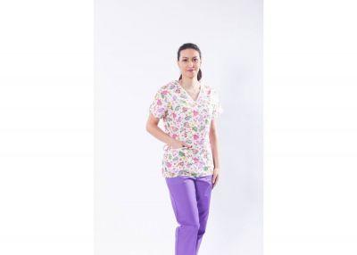 Bluza medicala din bumbac, cu imprimeu broscute testoase