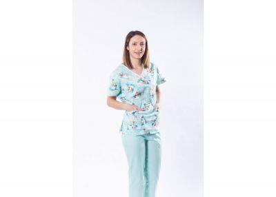 Bluza medicala din bumbac, imprimeu oameni de zapada