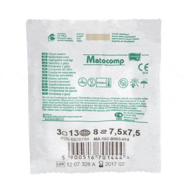 Comprese sterile din tifon MATOCOMP, 8 straturi, blister 3 bucati