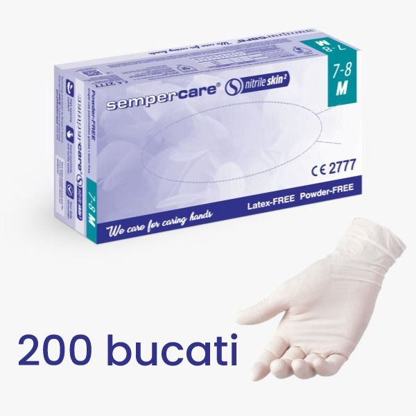 Manusi de examinare NITRIL nepudrate, Sempercare, 200 buc.